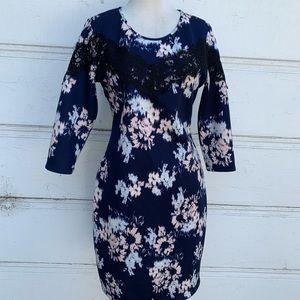 Patterned Xhilaration Dress with Lace Appliqué Lg